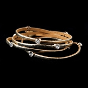 Leather Wrap 3 Strands with Stone Gold Bracelet 8814