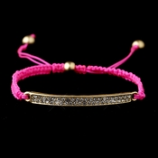 Gold Clear Rhinestone Pink String Bracelet 8819
