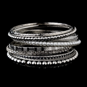 Antique Silver & White Pearl 10 Piece Stackable Bracelet Set 8855