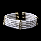 Gold White Rhinestone Coiled Designer Inspired Open Cuff Bangle Bracelet 8865