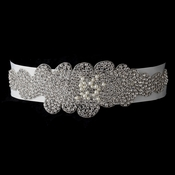 * Pearl & Rhinestone Glitz Wedding Bridal Sash Belt 289