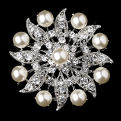 Antique Silver Diamond White Pearl & Clear Rhinestone Flower Design Brooch 209