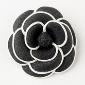* Oldies Black & White Flower Hair Clip 9944 with Brooch Pin