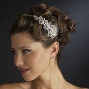 Antique Silver Ivory Freshwater Pearl & Crystal Floral Side Accented Headband Headpiece 2295