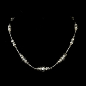 Silver Smoked Crystal & Rhinestone Necklace 8741
