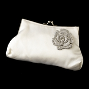 Silk Satin Evening Bag 202 with Antique Silver Clear Floral Brooch 113