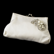 Silk Satin Evening Bag 202 with Antique Silver Clear & Diamond White Accent Brooch 211**Discontinued**