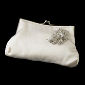 Silk Satin Evening Bag 202 with Silver Clear Floral Crystal Brooch 16***Discontinued***