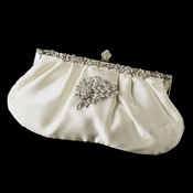 Rhinestone Accented Vintage Frame Satin Evening Bag 309 with Antique Silver Clear Floral Brooch 205