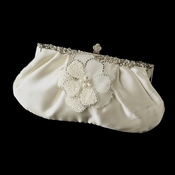 Rhinestone Accented Vintage Frame Satin Evening Bag 309 with Ivory Beaded Flower Pearl Brooch 41