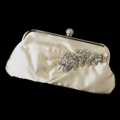 Satin Crystal Evening Bag 315 with Antique Silver Clear Leaf Brooch 18