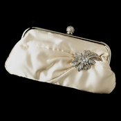 Satin Crystal Evening Bag 315 with Silver Clear Floral Crystal Brooch 16