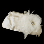 Satin Crystal Evening Bag 315 with Floral Rhinestone Feather Clip 475