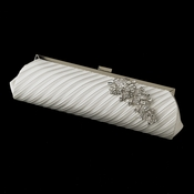Pleated Sating Evening Bag 319 with Antique Silver Clear Leaf Brooch 18