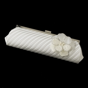 Pleated Sating Evening Bag 319 with Ivory Beaded Flower Pearl Brooch 41