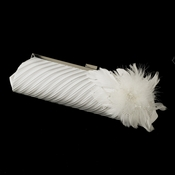 Pleated Sating Evening Bag 319 with Feather Fascinator Clip 1531