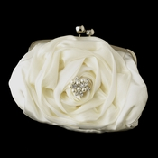 Silver Frame & Shoulder Strap Floral Rose Evening Bag 329 with Floral Ivory Pearl & Marquise Crystal Brooch 118