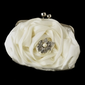 Silver Frame & Shoulder Strap Floral Rose Evening Bag 329 with Antique Silver Clear Rhinestone & Diamond White Pearl Accent Brooch 208
