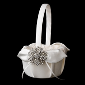 Flower Girl Basket 17 with Silver Clear Floral Starfish Brooch 15