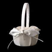 Flower Girl Basket 17 with Silver Clear Faith Cross Brooch 30020