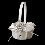 Flower Girl Basket 17 with Dangling Pear & Marquise Crystal Brooch 44