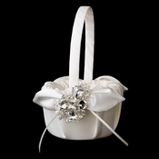 Flower Girl Basket 17 with Silver Clear Princess & Pear Crystal Brooch 84