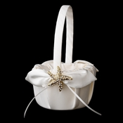 Flower Girl Basket 17 with Gold Clear Starfish Brooch 93