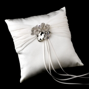 Ring Pillow 11 with Silver Clear Oval Flower Brooch 110