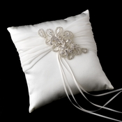 Ring Pillow 11 with Silver Clear Floral Swirl Crystal Brooch 43