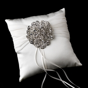 Ring Pillow 11 with Antique Silver Clear Crystal Floral Brooch 53