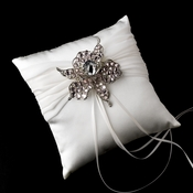 Ring Pillow 11 with Silver Clear Light Pink Flower Brooch 82