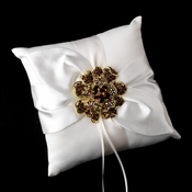 Ring Pillow 17 with Gold Topaz Floral Brooch 8779