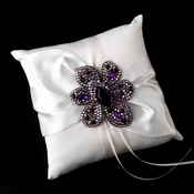 Ring Pillow 17 with Silver Amethyst Marquise Crystal & Rhinestone Brooch 8798