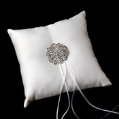 Ring Pillow 9 with Antique Silver Clear Crystal Floral Brooch 58