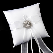Ring Pillow 90 with Antique Silver Clear Floral Swirl Crystal Brooch 37