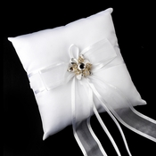 Ring Pillow 90 with Rhinestone Flower Brooch 8707
