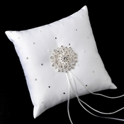 Ring Pillow 92 with Silver Clear Round Brooch 3171