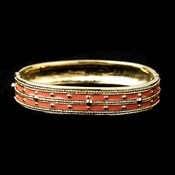 Gold with Orange Enamel Bangle Fashion Bracelet 6102