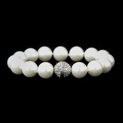 Antique Silver White 12mm Pearl Knotted Bracelet  7500 with CZ Pave Ball Twist Clasp
