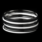 Modern Chic Black & White Bangle Fashion Silver Bracelet Set 8801