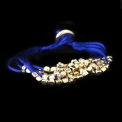 Gold Blue Multi-Strand Fashion Bracelet 8812