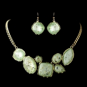 Gold Mint Green Opalescent Moonglass Necklace & Earrings Jewelry Set 8159