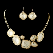 Gold Peach Opalescent Moonglass Necklace & Earrings Jewelry Set 8159