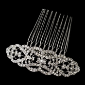 Antique Silver Rhodium Clear Rhinestone Comb 653