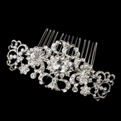 Antique Silver Rhodium Clear Rhinestone Swirl Comb 656