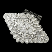 Antique Silver Rhodium Clear Rhinestone & Glass Bead Fabric Comb 657