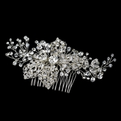 Silver Clear Rhinestone Comb 9878 with Leaves
