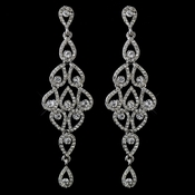 Antique Silver Clear Rhinestone Chandelier Earrings 40063