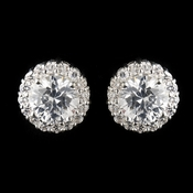 11 mm Circular Cubic Zirconia Pave Stud Earrings in Silver 4046
