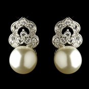 Antique Rhodium Silver Clear CZ & Diamond White Pearl Clip On Earrings 7860